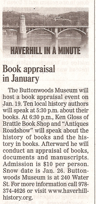 Newspaper story about the Buttonwoods - NEAE Book Appraisal Event