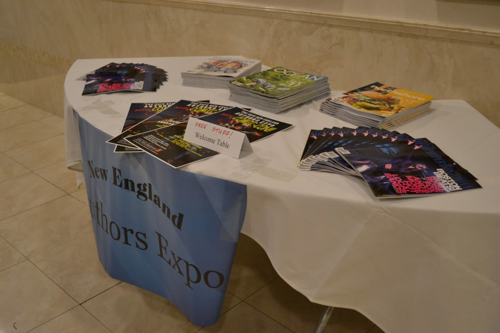 Table of free items at the 2015 New England Authors Expo